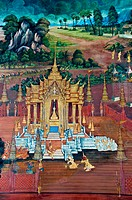 Thai Mural Painting on the wall, Wat Phra Kaew Ramayana story.