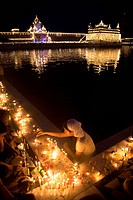 Sikh community celebrates Dussera festival , lighting candles around holy water pool , Hari mandir Sahib , Swarn Mandir Golden temple , Amritsar , Pun...