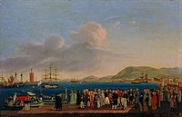 The Royal Highnesses the Duke and Duchess of Calabria and the Royal Family's departure from Palermo to Naples, 1819, by Giovanni Cobianchi (active 181...
