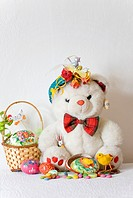 White Teddy Bear with papier mache Easter Egg  Fatso the Bear has a papier mache Easter Egg filled with candies and Easter chick  Marzipan duck  Small...