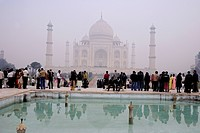 Fog surrounding Taj Mahal in morning , Agra , Uttar Pradesh , India