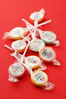 Sugar lollies in cellophane paper