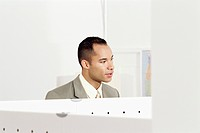 Businessman talking in an office setting