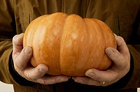 Detail view of an aging man holding a pumpkin