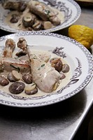 Chicken with a creamy mushroom sauce