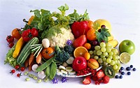 Various fruits and vegetables on a plate