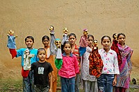 Rural children doing glove puppet show to highlight heath issues socio_economic initiative by NGO Chinmaya Organization of Rural Development CORD , Si...