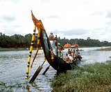 Boat racing at Aranmula Pamba river ; Kerala ; India