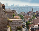 Istanbul, Turkey. Modern city and ancient walls.