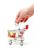 Shopping Cart with Hand and Coin