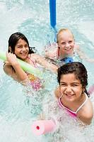 Three girls in a swimming pool