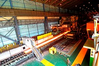 Making of steel plate molten iron on conveyor inside steel plant ; Essar steel ; Hajira Plant ; Surat ; Gujarat ; India