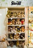 Steiff teddy bears display in a store, UK