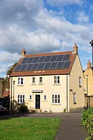 Solar panels on a house, England, UK