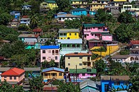 Colourful houses in Canaries, St Lucia