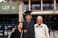 Grandparents with grandson on convocation function at Berkeley University ; California ; USA United States of America MR782