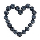 Heart shape created with ripe blueberries