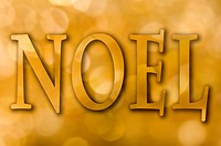 Gold bokeh background with the word ´Noel´