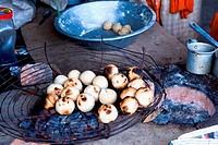 Litti bihari food backed in coal fire , India