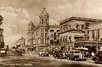 Old picture postcard of chowringhee road , Calcutta Kolkata , West Bengal , India