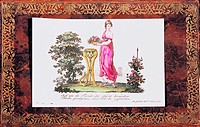 fine arts, graphic, woman with fruit bowl, inlay picture of a family register, Germany, circa 1810 _ 1840, private collection,