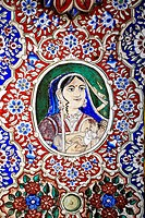 Paintings of royal person on wall of haveli , Fatehpur Shekhavati , Rajasthan , India
