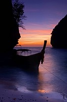 Blurred view of boat on beach