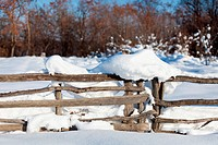 Fence covered with snow