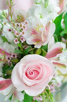 Bunch of flowers with pink rose