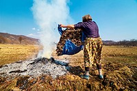 Senior rural woman burning fallen leaves