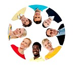 Circle shaped collage with diversified people