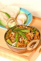 Bhindi masala vegetable served with roti