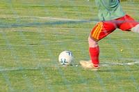 Playing soccer match