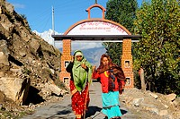 Women at entrance of muktinath , Nepal