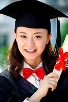 A university student in graduation gown