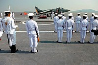 Indian navy sailors ready for guard of honour on the deck of aircraft carrier INS viraat R22 , Bombay , Mumbai , Maharashtra , India