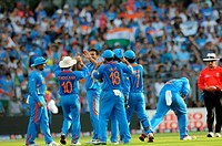 Indian bowler 3L Zaheer Khan celebrates with team after taking the wicket of Chamara Kapugedera of Sri Lanka Not in picture during the 2011 ICC World ...