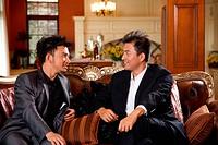 Two men talking in sofa