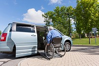 Man with muscular dystrophy and diabetes getting in an accessible van