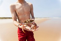 Teenage holding crab on the beach, Block Island, Rhode Island, USA