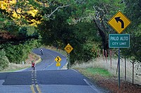Two lane highway entering Palo Alto, CA, USA, NMR