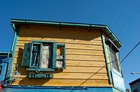 Detail of an old window in La Boca neighborhood in Buenos Aires city, Argentina