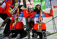 Tora Berger of Norway, center, celebrates with her teammates after they won women´s relay 4x6km race at the Biathlon World Championships in Nove Mesto...