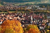 Colorful Autumn Landscape with view over the Hersbruck and the Hersbruck Mountains Nature Park in Bavaria, Germany.Farbenfrohe Herbstlandschaft im Nat...