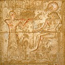 fine arts, ancient world, Egypt, Tuna el_Gebel, relief at tomb temple of Petosiris, High Priest of Thot,