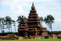 Shore temple at Mamallapuram ; Chennai ; Tamil Nadu ; India