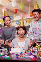 Chinese family at birthday party