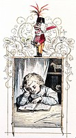 fine arts, Richter, Ludwig 1803 _ 1884, graphic, reading boy, coloured woodcut for Der Wintergast, in Illustrierte Jugend_Zeitung, published by Wiegan...