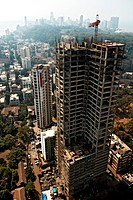 View of under construction high rise  in Bombay  Mumbai ; Maharashtra ; India 25-January-2009