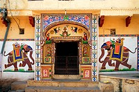 Painting of running elephants on wall of house , Bundi , Rajasthan , India